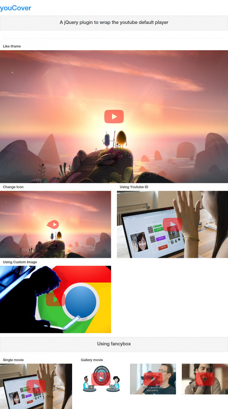 jQuery Plugin For lazy Loading Youtube Videos - youCover